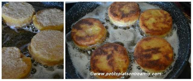 cuisson des panés de polenta