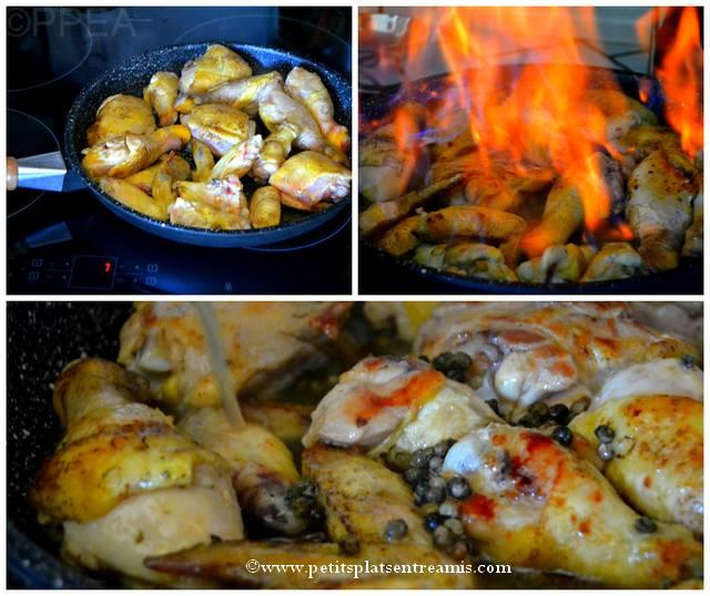 fricassée de poulet flambée