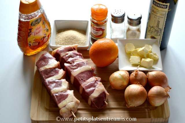 ingrédients pour brochettes de canard
