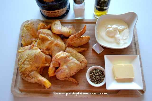 ingrédients pour fricassée de poulet