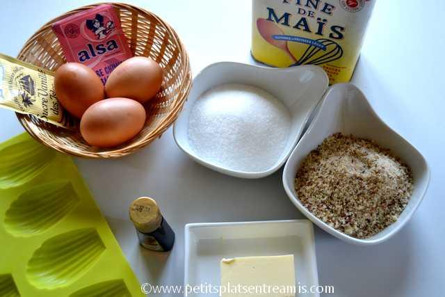 ingrédients pour madeleines aux noisettes