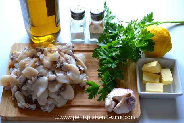 ingrédients pour supions en persillade