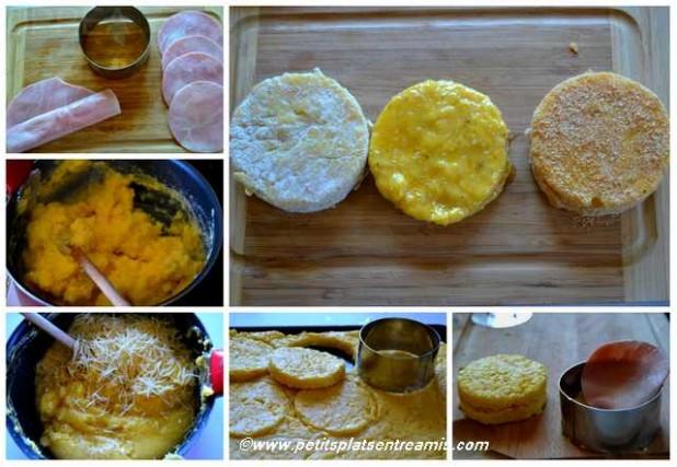 préparation des panés de polenta au jambon