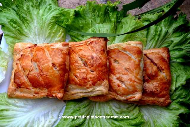 assiette de feuilletés au poulet