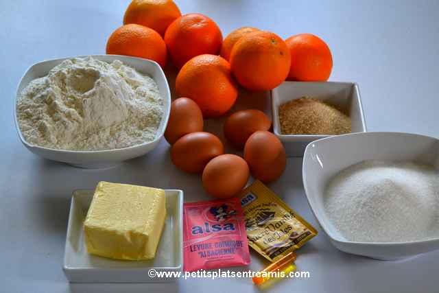 ingrédients gâteau à l'orange