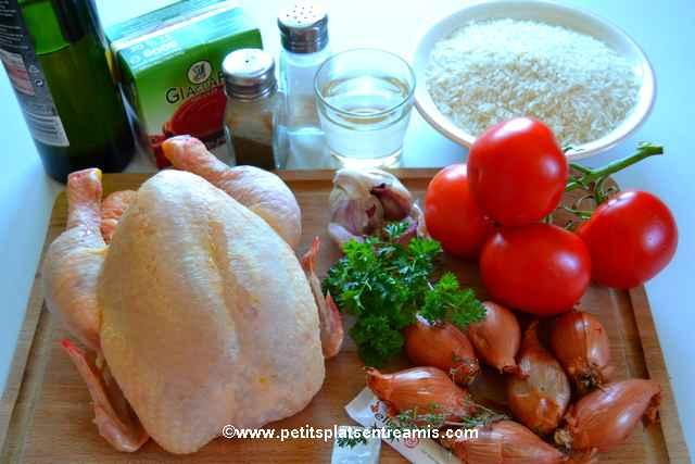 ingrédients poulet aux tomates