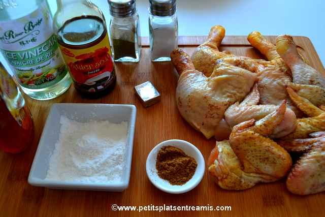 ingrédients poulet frit au miel