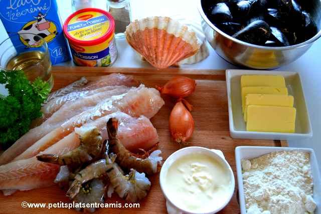 ingrédients pour coquilles de poisson