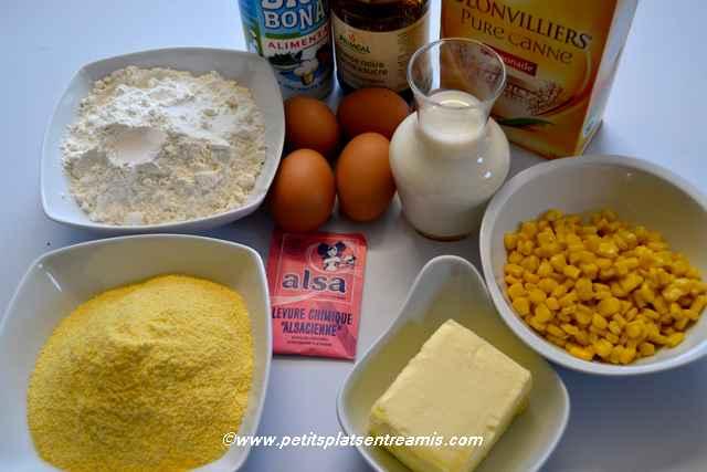 ingrédients pour pain de maïs