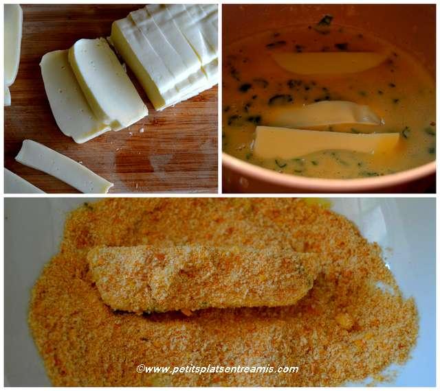 préparation batonnets fromage panés