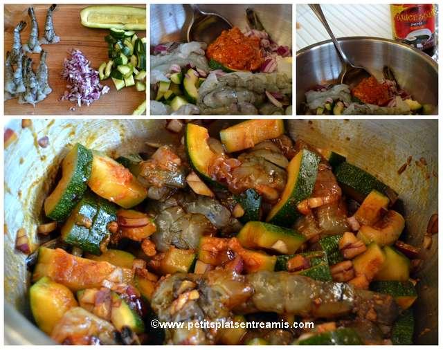 préparation crevettes sauce satay