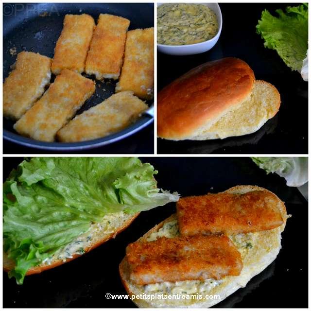 préparation du burger poisson