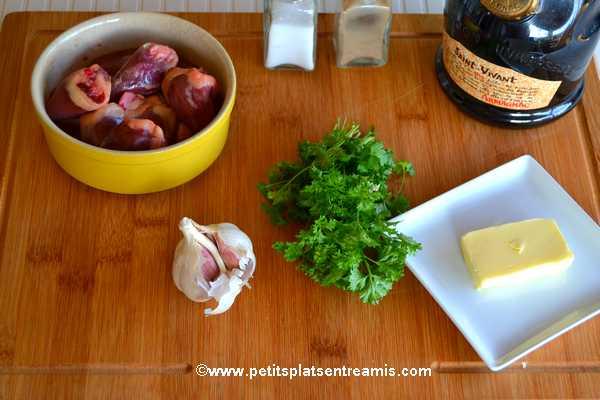 Ingrédients coeurs de canards sautés à l'ail et au persil