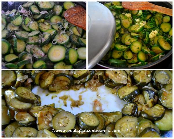 cuisson échalotes et courgettes