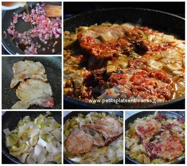 cuisson cotes de porc et endives au sirop d'érable
