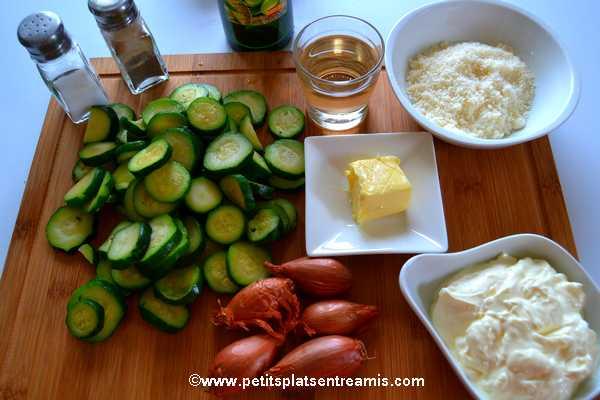 ingrédients pour courgettes crème au parmesan