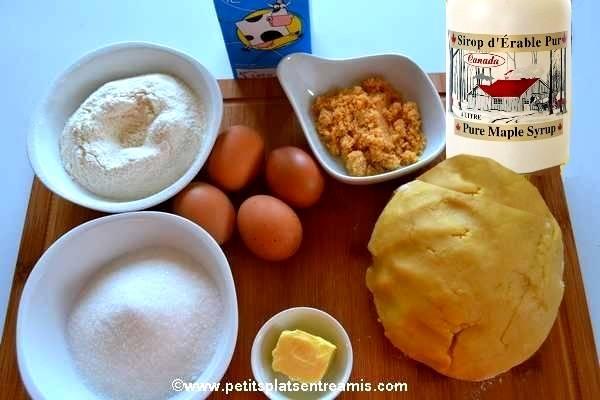 ingrédients tarte à la crème au sirop d'érable