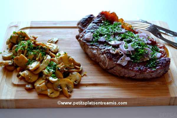 recette faux-filet au jus de couteau