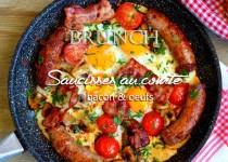 Saucisses au comté, bacon & oeufs