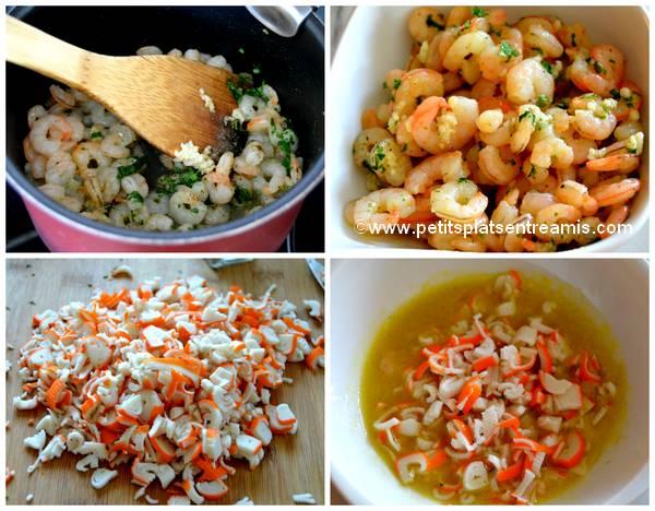 crevettes et surimi pour quiches
