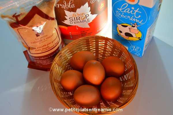 ingrédients crème renversée aux saveurs d'érable