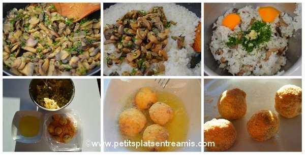 préparation boulettes de riz aux champignons