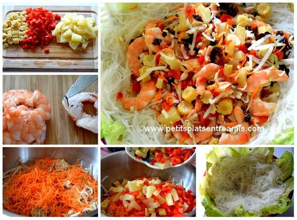 préparation salade au soja et crevettes