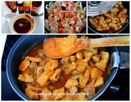 cuisson sauté de porc sucré-salé