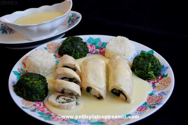 escalopes de poulet farcies aux épinards sauce suprême recette