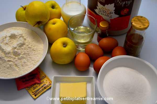 ingrédients gâteau aux pommes et sirop d'érable