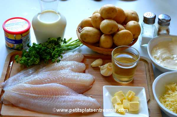 ingrédients gratin de poisson et pommes de terre