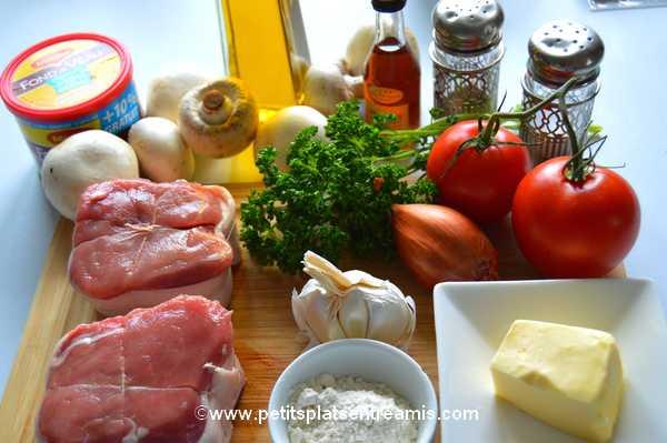 ingrédients médaillons de veau Duroc