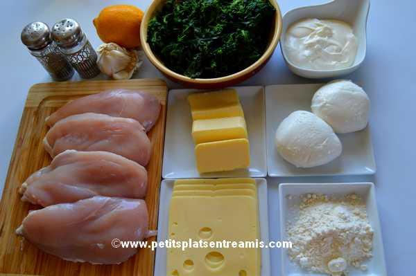 ingrédients pour escalopes de poulet farcies aux épinards sauce suprême