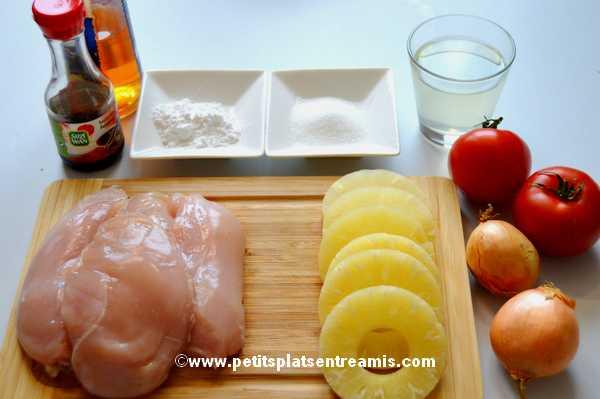 ingrédients pour poulet à l'ananas