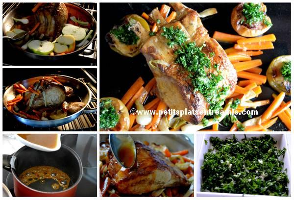 cuisson carré de porc en persillade