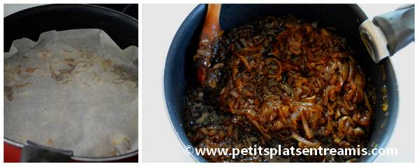 cuisson du confit d'oignons
