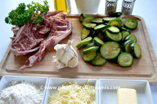 ingrédients pour Côtes d'agneau gratinées aux courgettes