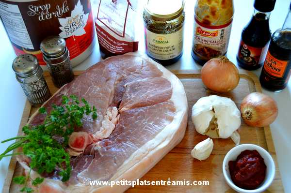 ingrédients pour rouelle de porc au sirop d'érable