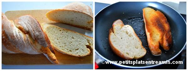 pain grillé à l'huile d'olive