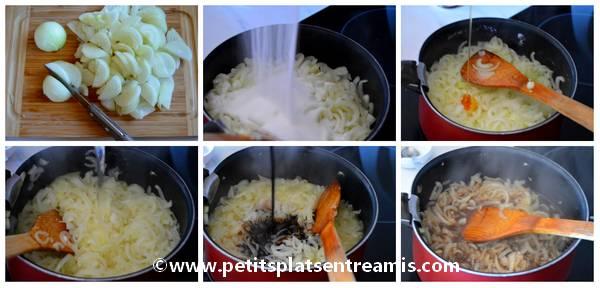 préparation du confit d'oignons