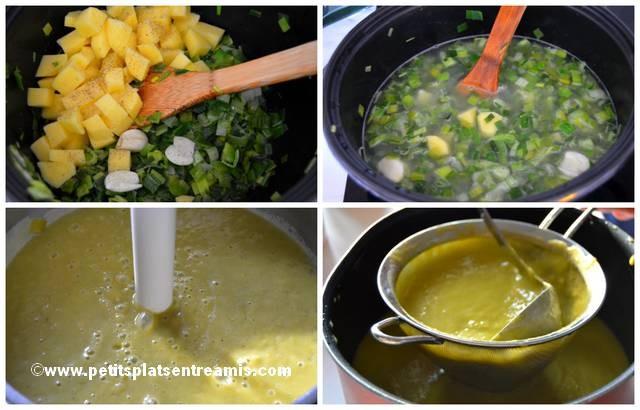 préparation soupe de poireaux