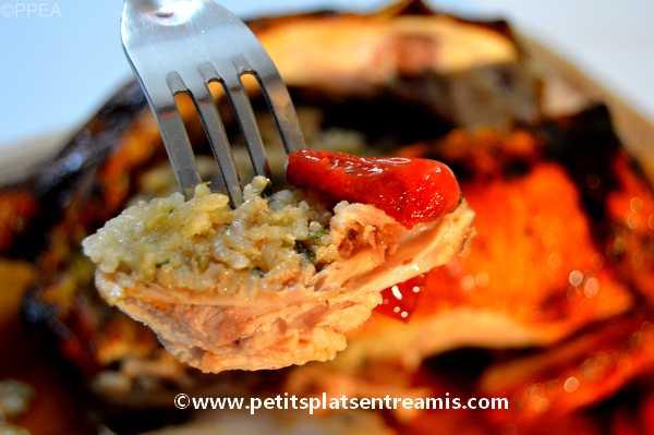 bouchée de poulet-farci-au-riz-et-champignons