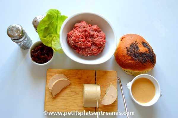 ingrédients burger au foie gras