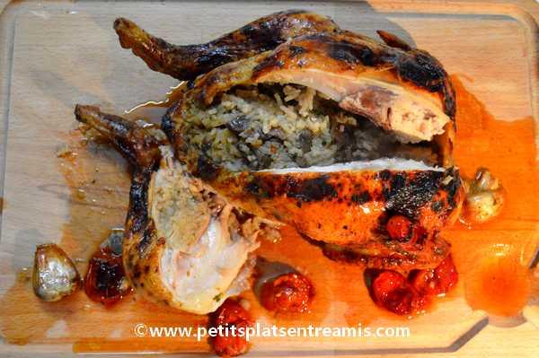 poulet-farci-au-riz-et-champignons recette