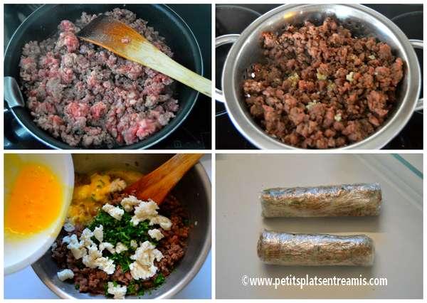 préparation farce viande pour brioche