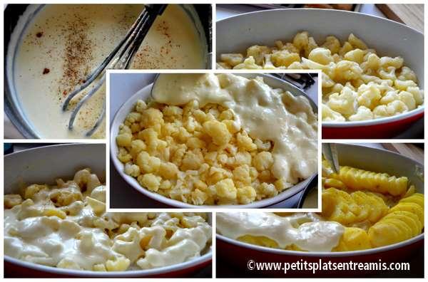 préparation gratin chou fleur et pommes de terre