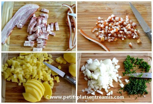 préparation ingrédients pour tarte aux pommes de terre
