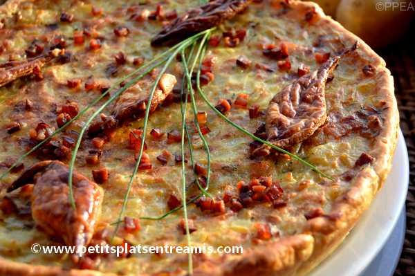 recette tarte aux pommes de terre oignons & lardons