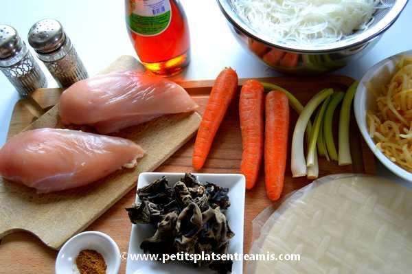 ingrédients Nems au poulet