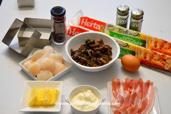 ingrédients feuilletés de Saint-Jacques aux champignons